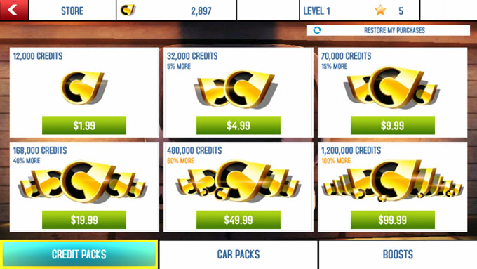 Asphalt 8 - In-app Purchases