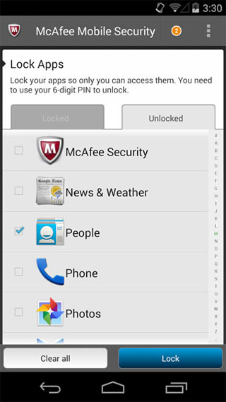 McAfee Antivirus and Security - Android - Lock Apps