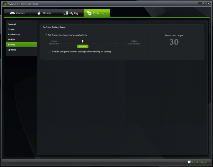 NVIDIA GeForce Experience Battery Boost