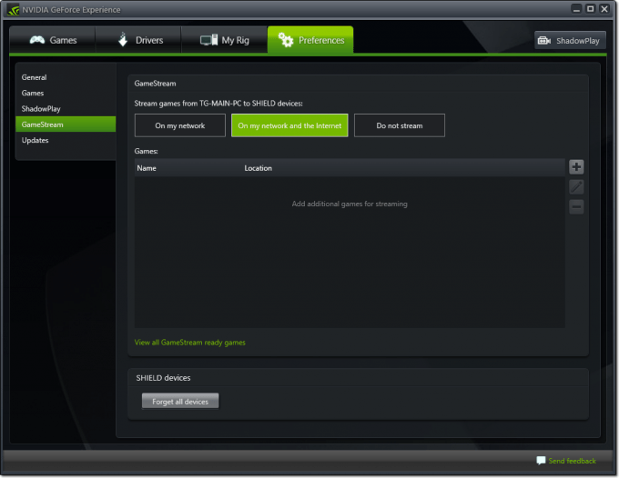 NVIDIA GeForce Experience - Remote GameStream