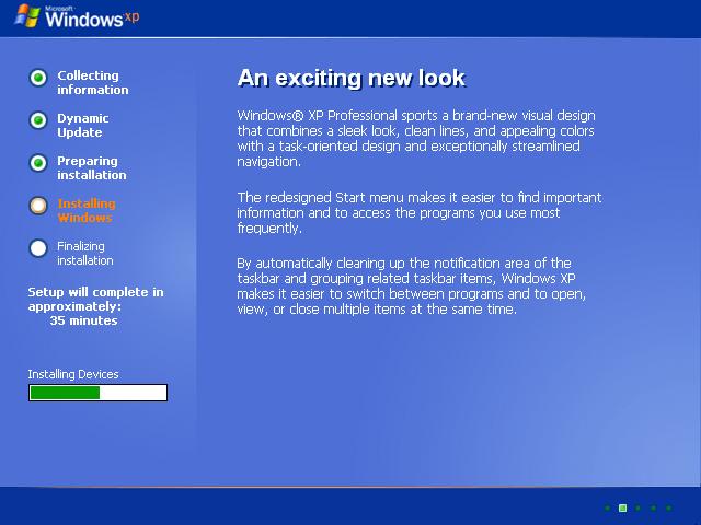 Windows XP - Installation, Graphical Installer