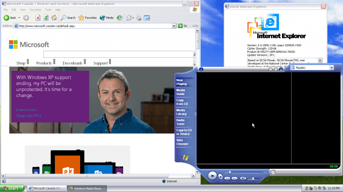 Windows XP - Internet Explorer, Media Player