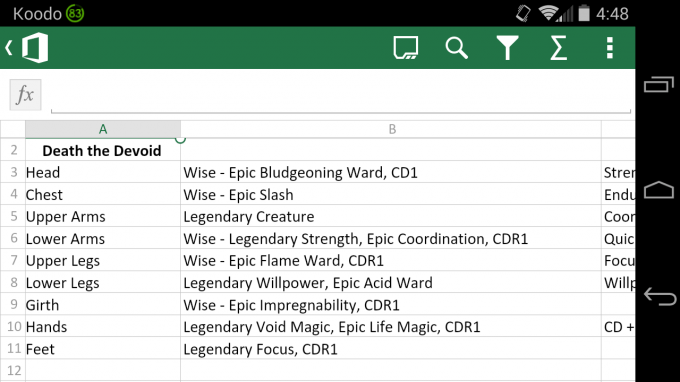 Microsoft Excel on Android