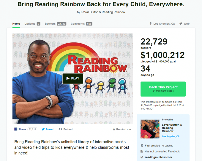 Reading Rainbow Reboot Kickstarter