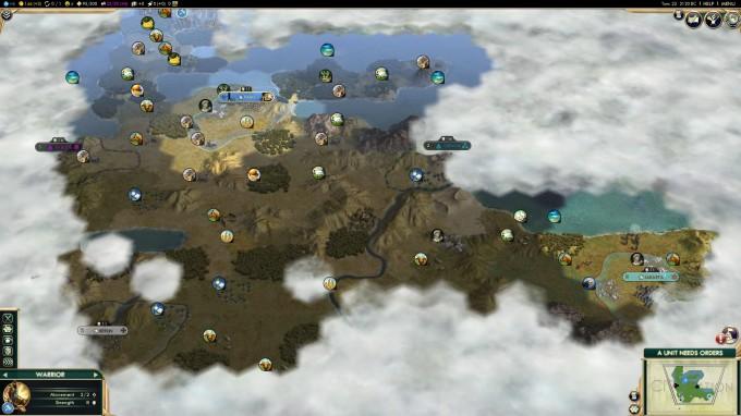 Civilization V for Linux - Zoomed-out