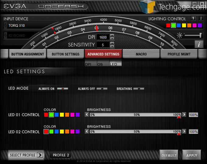 EVGA Torq Mouse Screen Capture Advanced Settings LED