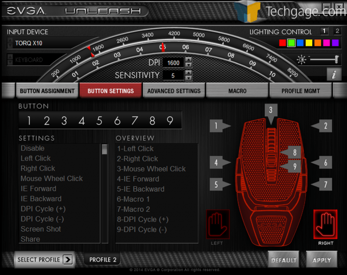 EVGA Torq Mouse Screen Capture Button Settings