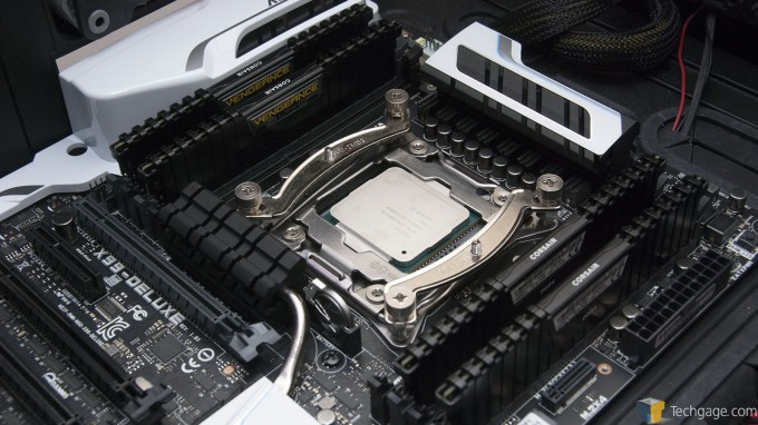 Intel Core i7-5960X and Corsair Vengeance LPX Memory Installed in an ASUS X99-DELUXE