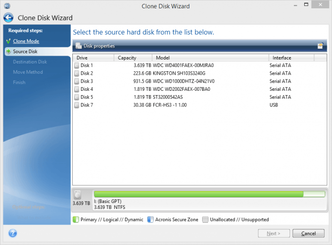 Acronis True Image 2015 Clone Disk Wizard