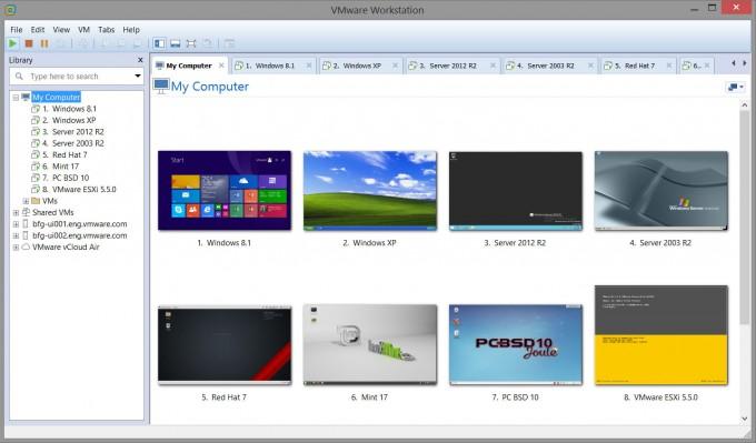 VMware Workstation 11 VMs Running