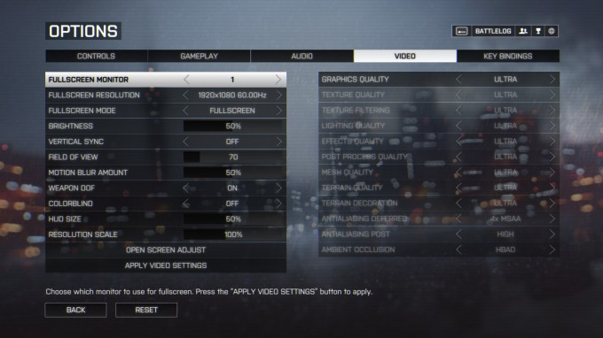 Battlefield 4 Benchmark Settings