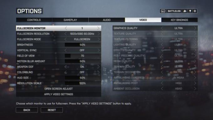 Battlefield 4 Benchmark Settings
