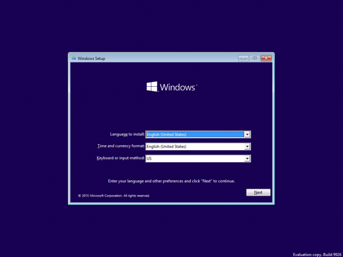 Windows 10 - Build 9926 Installer