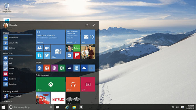 Windows 10 - Transparent Start Menu