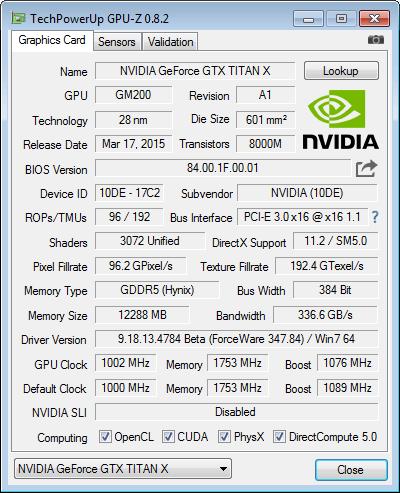 NVIDIA GeForce GTX TITAN X - GPU-Z