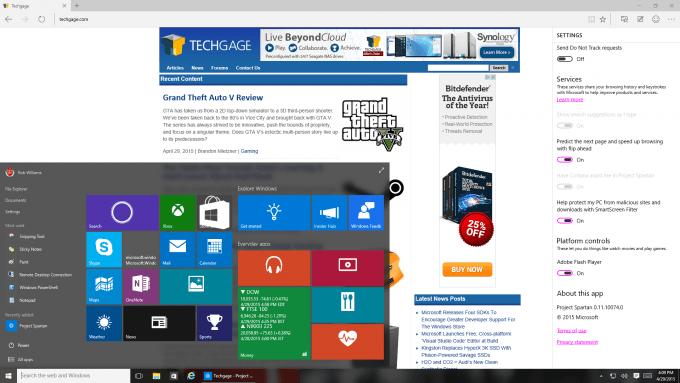 Microsoft Windows 10 Build 10074 - Project Spartan and Start Menu