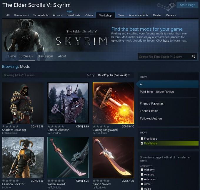 Steam Steamworks Paid Mods - Skyrim