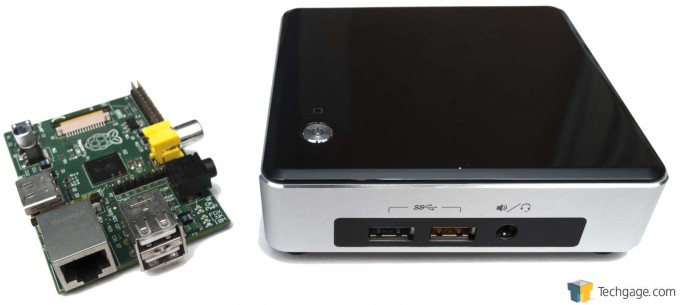 Intel NUC5i5RYK System - Size Comparison with Raspberry Pi