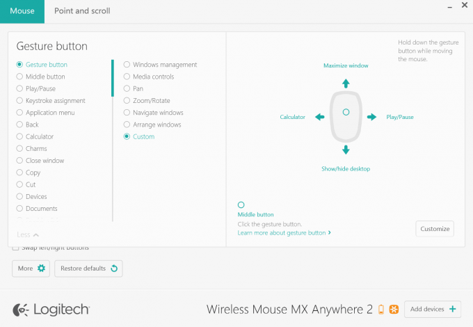 Logitech Wireless Mouse MX Anywhere 2 Software - Configuring Gestures