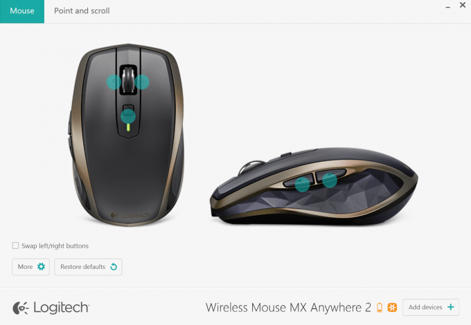 Logitech Wireless Mouse MX Anywhere 2 Software - Mouse Screen