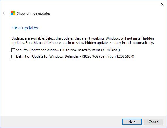 Microsoft Windows 10 - Hide Or Show Updates (List)