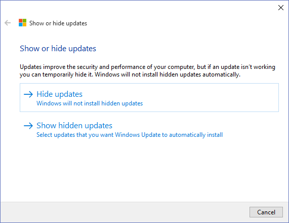 Microsoft Windows 10 - Hide Or Show Updates