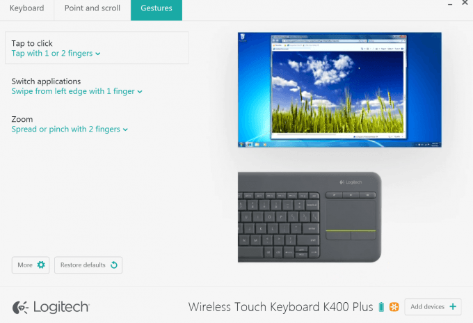 Logitech K400 Plus Keyboard - Gesture Customization