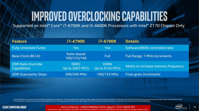 Intel Skylake Overclock Improvements Slide
