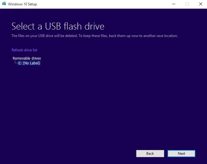 Windows 10 Media Creation Tool - Choose Flash Drive To Make Bootable