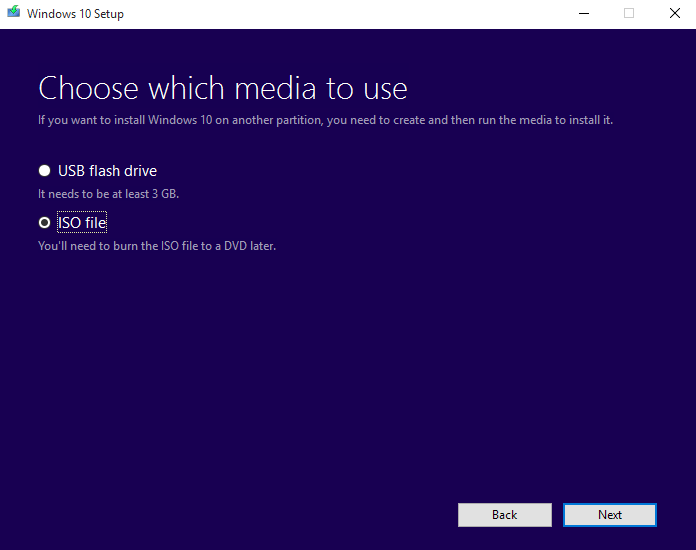 Windows 10 Media Creation Tool - Download ISO Image Instead
