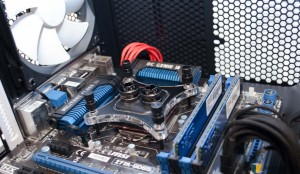 XSPC RayStorm D5 RX360 V3 Watercooling Kit - Water Block installed On Motherboard