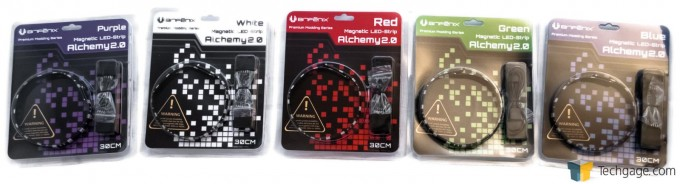 BitFenix Alchemy 2.0 Magnetic LED Strips - Five Colors Packaged