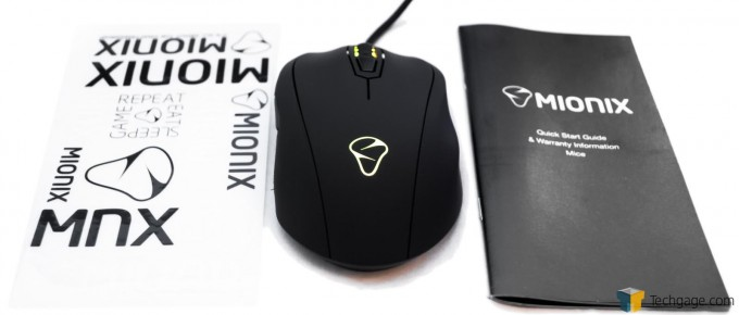 Mionix Castor Gaming Mouse - Lit Up With Accessories
