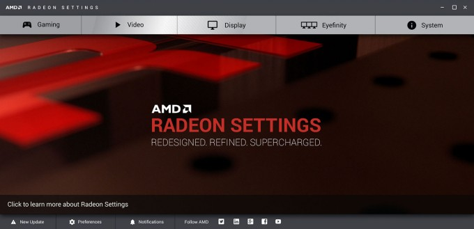 Radeon Software Crimson Edition - Main Interface