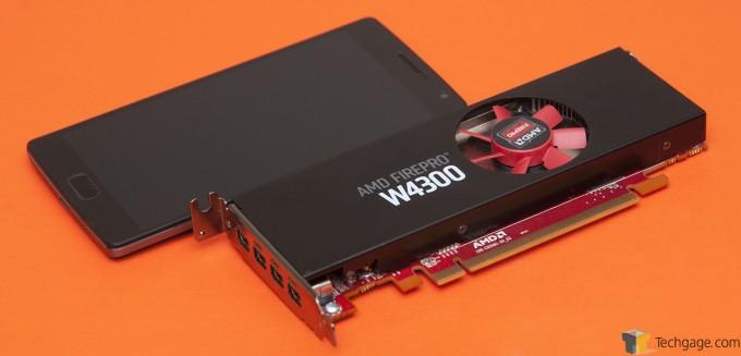 AMD Radeon FirePro W4300 Next To 5.5-inch Smartphone