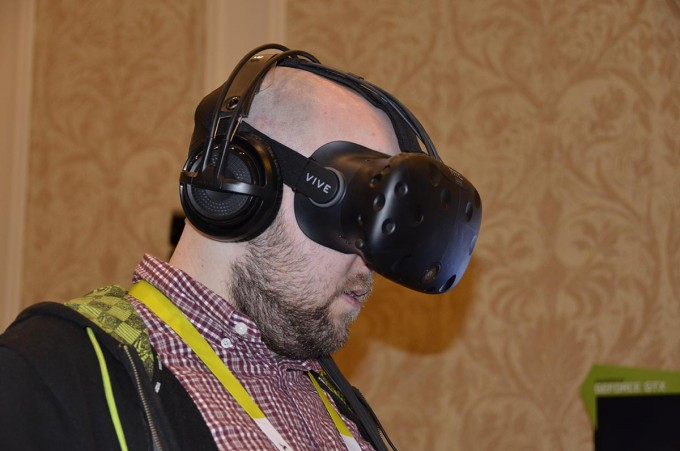 CES 2016 Rob Wearing the HTC Vive VR Headset