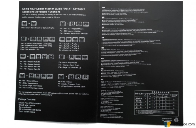 Cooler Master Quick Fire XTi Mechanical Gaming Keyboard - Leaflet