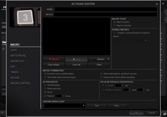 Corsair Scimitar RGB CUE Software 05 - Macro Recording