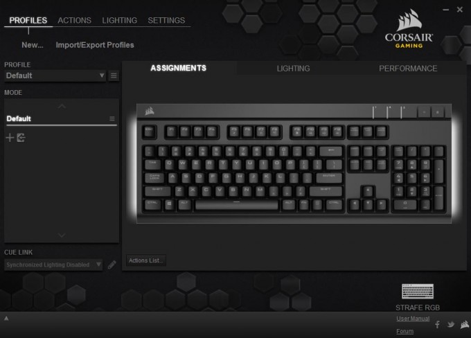 Corsair Strafe RGB Silent Keyboard Screen Cap (1) Main Interface