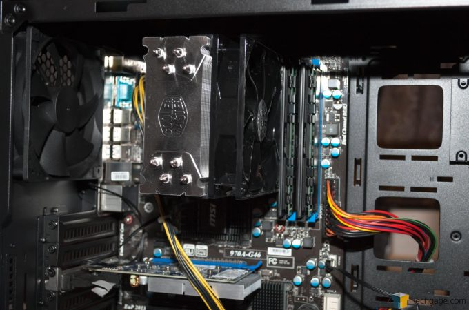 Techgage Review Cooler Master MasterBox 5 MOBO and Cooler Installed