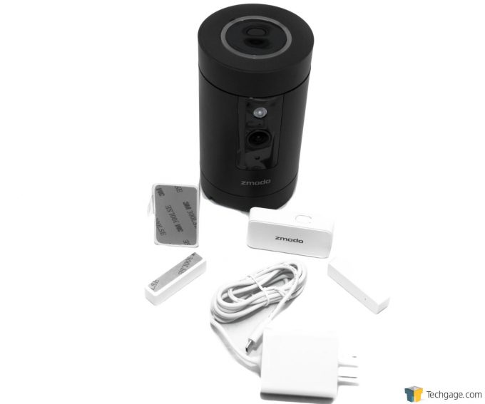 Techgage Review Of The Zmodo Pivot Camera System Accessories Including Window And Door Sensors