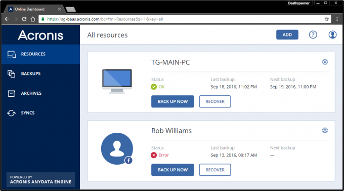 Acronis True Image 2017 Online Dashboard