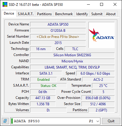 ADATA SP550 480GB SSD SSD Z