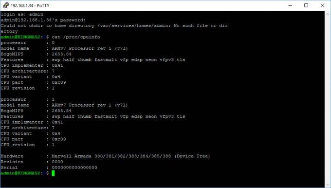 Synology DS416j SSH System Specs