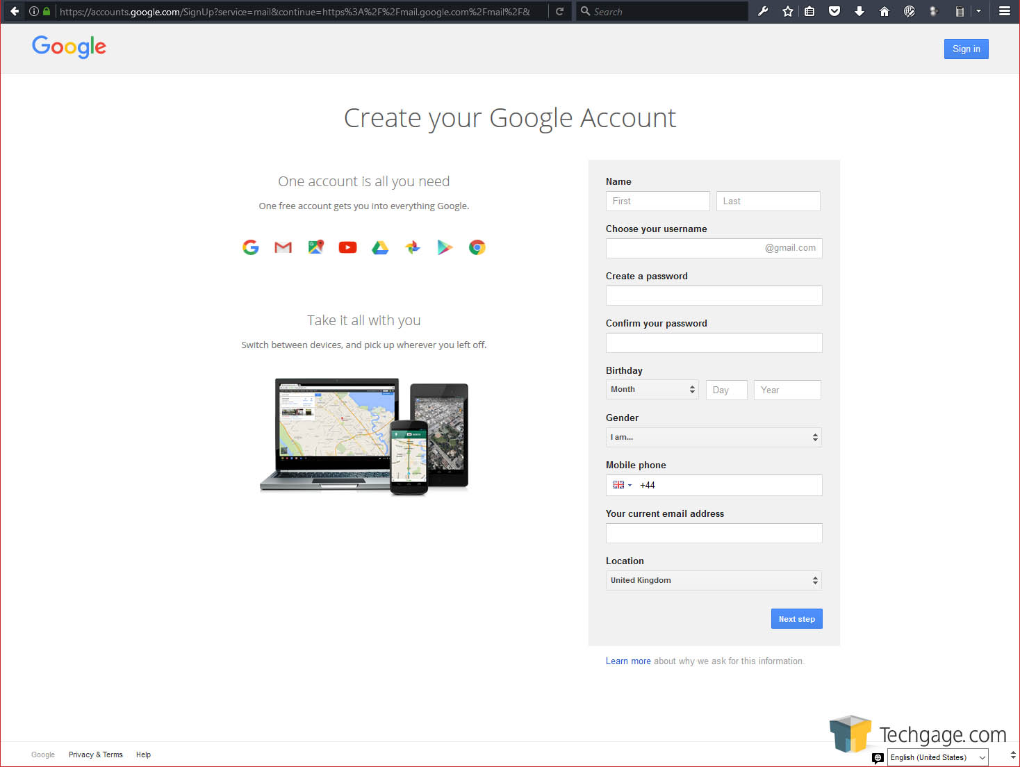 google account create email