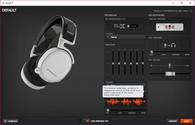 SteelSeries Arctis 7 - SteelSeries Engine 3 UI with Help Information