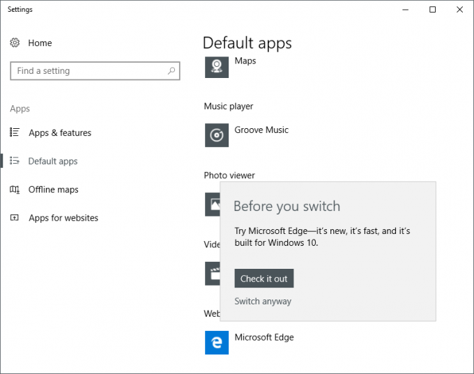 Windows 10 - Switching Default Web Browser