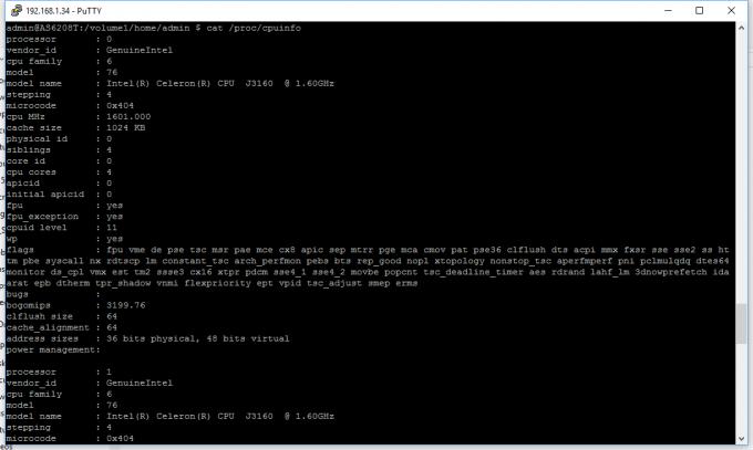 ASUSTOR AS6208T 8-Bay NAS CPU Info