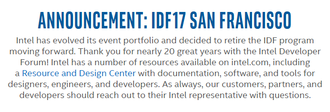 Intel IDF Cancellation Message