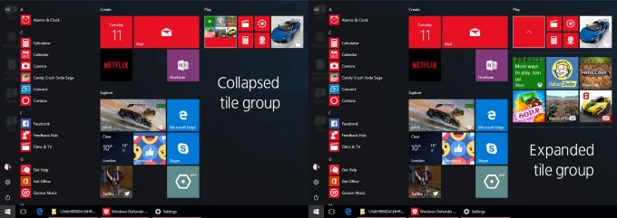 Windows 10 Creators Update Start Tile Groups
